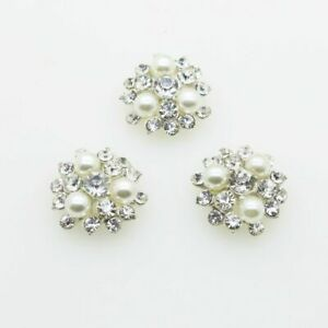 Silver Vintage Flowers Rhinestones Buttons Center Craft Supplies Crystals Pearls