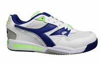 Diadora Rebound Ace White Blue Leather Lace Up Mens Running Trainers C3144