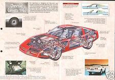Chevrolet Corvette C4 Sport V8 General Motors USA 1984 Auto Car FICHE FRANCE