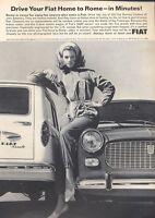 1965 FIAT PRINT AD Model 1100/D & 5-Door Station Wagon Fun Vintage Garage Decor