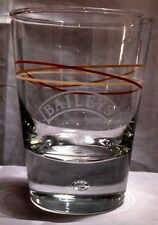 """Baileys Irish Cream Etched Logo 4.25"""" Glass with Stripes & Bubble in Base"""