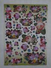papier découpage technique serviette (thème:rose et panier) 68X48cm