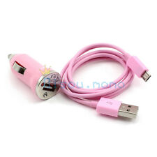 Pink Mini Car Charger & 3ft Micro USB Data Sync cable for Galaxy Nexus Lumia HTC