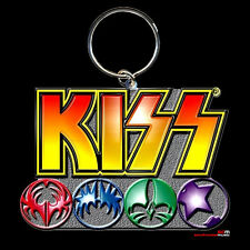 KISS LOGO AND ICONS MULTI-COLOUR KEY RING OFFICIAL MERCHANDISE THE PERFECT GIFT!