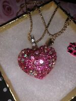 Betsey Johnson Necklace PINK Flower Heart  GOLD CRYSTALS Bling Gift Box Love