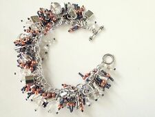 Clear, FROSTED Orange & DARK Purple  HANDCRAFTED Vintage BEAD Charm BRACELET