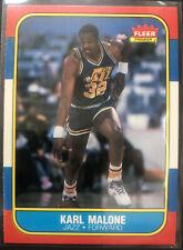 KARL MALONE 1986-87 FLEER JAZZ ROOKIE RC HOF NBA BASKETBALL #68 SET BREAK MINT +