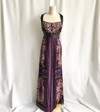 Nanette Lepore Patterned Sleeveless Evening Maxi Dress Faux Leather Detail  4