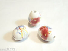 Porcelain Beads : Porcelain113 : 10 pcs x Oval - Floral