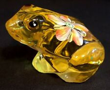 Fenton Art Glass Hand Painted Flowers On Buttercup Frog Into The Pond 2010