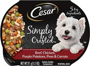 Cesar Simply Crafted Adult Soft Wet Dog Food Meal (5) 1.3 oz. Tubs