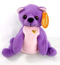 "NWT JELLY BEANS Teddy Bear ""GIANNY"" Purple & Pink Plush Stuffed BeanBag Heart 5"""
