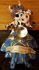 Uniq 2001 Blue Sky Goldminc Cow Fortune Teller Crystal Ball Tea Light Lite Rare!