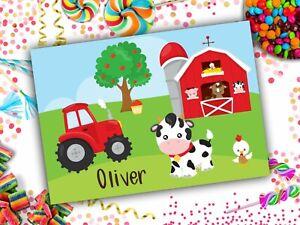 Personalised Farm A4 Laminated Kids Placemat Childrens Name Farmyard Animals Fun