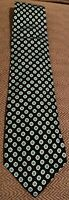 Brooks Brothers Men's 100% Silk Tie Black With White And Green Floral Pattern