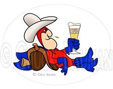 Bud Man Cowboy Western Bud beer art sticker decal bud-man horse country western