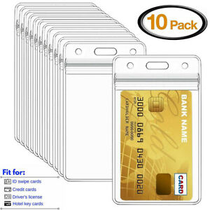 10PCS Vertical Clear soft Plastic ID Card Badge Holder Waterproof Business Case