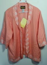 Bob Mackie 2X Women's Wearable Art Peach Color Cardigan Jacket Embroidered NWT