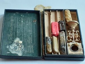 SET LOT Vintage DENNISONS WAX SEAL Kit Cursive H stamp perfume Patina stick case