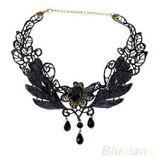 Black Fabric Rose Flower Beads Pendant Collar Choker Lace Lolita Necklace