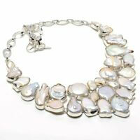 "Biwa Pearl Gemstone Handmade 925 Sterling Silver Jewellery Necklace 18"""