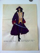 "1924 Original Painting 17th Century French ""pirate""Fashion Dress"
