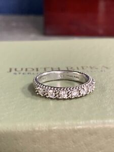 Judith Ripka Sterling Silver 7 CZ Stone Ring Size 10