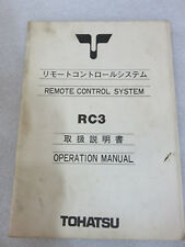 Tohatsu Outboard Motor Remote Control System RC3 Operation Manual OEM Factory