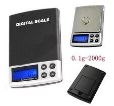 Portable 2000g/ 0.1g Mini Jewelry Digital SCALE Balance Pocket Black+Silver