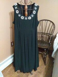 Sz 22/24W Lane Bryant Long Sleeveless Stretch Dress, Black White Beaded Neckline
