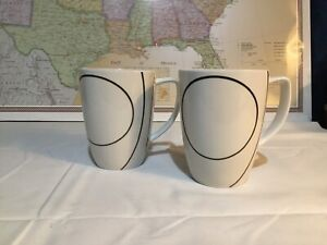 Corelle Coordinates Set of 2 Coffee Cups SIMPLE LINES Black and White