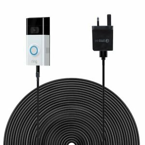 6m/19.6ft Power Cable Charger with Adapter for Ring Video Doorbell 2 UK/EU Plug