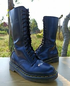 Dr Martens England 1914 Women 4 UK 6 US Vintage Tall Boots Polish Leather 14 eye