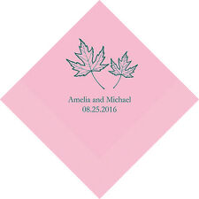 100 Fall Leaf Personalized Wedding Luncheon Napkins