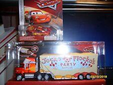 DISNEY CARS JOCKO FLOCKO MACK HAULER & METALLIC CARS 3 LIGHTNING McQUEEN NEW HTF