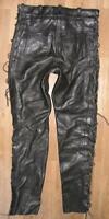 fette Damen- Schnür- LEDERJEANS / Biker- Lederhose in schwarz in ca. Gr. 40/42