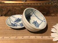 Asian Porcelain Blue & White Turtles Rice & Dipping Bowl Marked