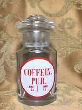 """5.5"""" Antique French APOTHECARY FACETED GLASS BOTTLE LABEL: COFFEIN. PUR"""