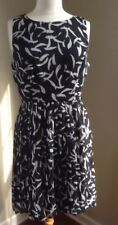 Gap Black and White Brushstroke Print Career Dress with Pleated Skirt Size 6