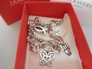 James Avery Sterling Silver Charm Bracelet & 5 James Avery Charms/Box&Pouch