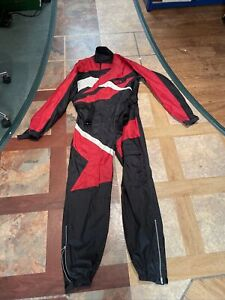 SIDI Motorcycle Rain Suit WATERPROOF COVERALL ALL IN ONE BLACK & RED SIZE MEDIUM