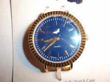 GOLD & BLUE Solid Bar Watch Face with WHITE Butterfly J-79