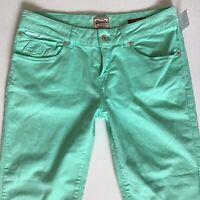 BNWT Ladies SuperDry CROP BRIGHT GREEN Skinny Jeans  W30 L32 Zips (647)