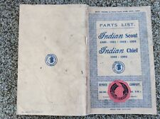 Scout & Chief Hendee Indian Motocycle Motorcycle Parts List Antique Reproduction