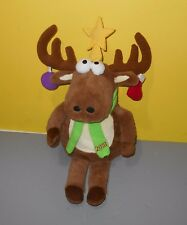 Christmas Reindeer 2010 Scarf Stuffed Plush Animal w/ Hanging Ornaments Antlers