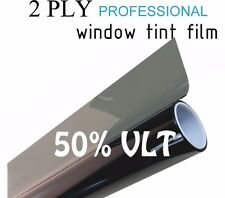 "50% VLT Black Car Window Tint Film Pro Dyed 40"" x 100' Roll UV Protection"