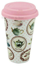 Vintage Tea Time Insulated Double Walled Eco Travel Mug Cup Ceramic Chic Shabby