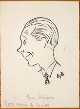 Dessin original de Georges BREITEL dit BIB portrait du comédien Pierre STEPHEN