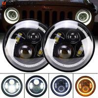2x 7inch Round LED Headlights Halo Hi/Lo Headlamp For Jeep Wrangler JK