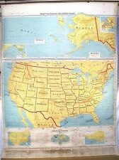 VINTAGE 1968 RETRACTABLE PULL DOWN SCHOOL ATLAS DENOYER GEPPERT AMERICAN US MAP
